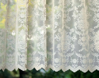 CÉLINE' Light Ivory Colored Continuous Fine Lace Sheers Full Lenght French Lace Net Curtain Sale By the Yard