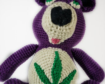 Don't-Care Stoner Bear,  Cannabis bear, Weed enthusiast, Adult Stuffed Animal, Adult teddy bear, Adult plush toy, Marijuana bear, 420 Bear