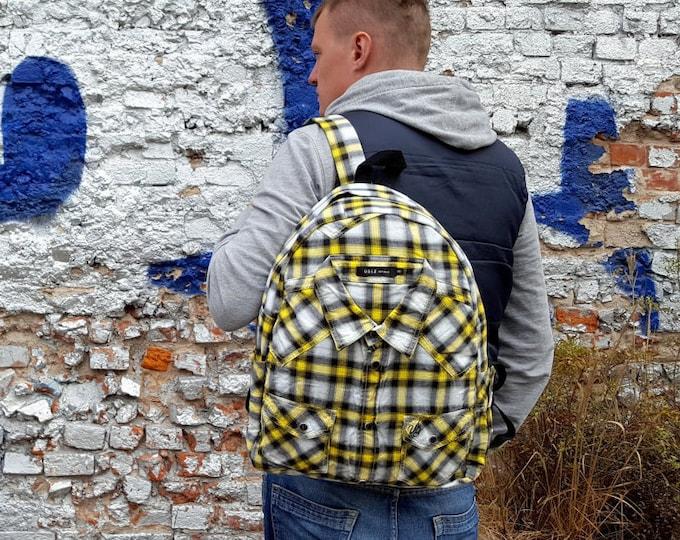 Hippie backpack, plaid shirt backpack, bohemian backpack, colorful backpack, laptop backpack, womens backpack, men backpack, medium backpack