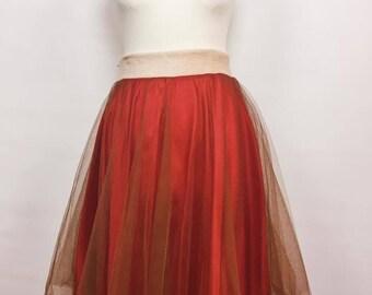 Handmade tulle skirt / Red tulle skirt petticoat / Petticoat tulle skirt / Skirt pinup rockabilly / Red tutu skirt petticoat