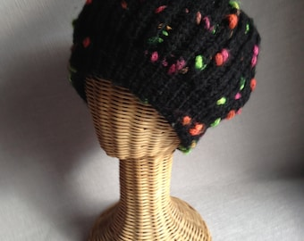 Chunky Black Hat with Bright Speckles: Black, Orange, Green, Pink and Yellow
