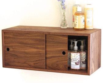 Floating Bathroom Storage Cabinet with Sliding Doors, Vanity, Console, Bathroom Floating Shelf, Bath Wall Decor