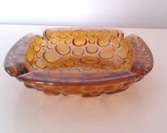Vintage 1960's Blenko Amber Bubble Glass Square Ashtray Trinket Dish Mid Century Mod