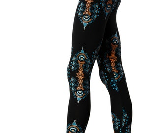 Festival Leggings-Fractals-Geometric Print-Printed Legging-Yoga leggings-Trippy-Trance clothing-EDM-Boho leggings-hippie leggings-Boho Pants