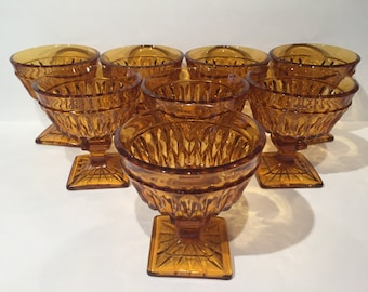 Amber Mt. Vernon Sherbet Cups, Champagne Coupes Set of 8