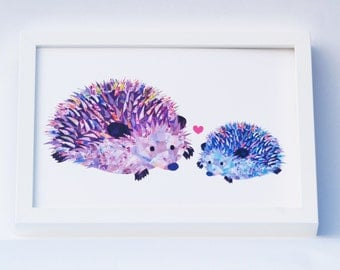 Mothers day hedgehog print, Personalised hedgehog gift for mum, Cute mother and baby hedgehog art, Unique mother daughter son gift, Cute art
