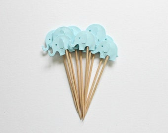 12 Baby Blue Elephant Cupcake Toppers Birthday Cake Topper Elephant Party Blue Baby Shower Topper