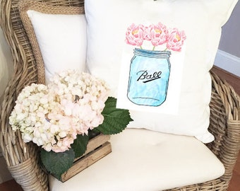 White Throw PILLOW COVER/ Peony throw Pillow, Mason Jar with Peonies Pillow, Pink & Blue Decorative Pillow, cushion cover
