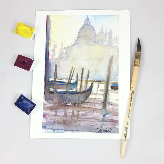 Small VENICE watercolor, landscape, copy of author, gift idea for dad, grandpa, uncle, friend, tea room, lounge traditional decoration, ART.