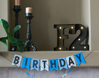 Birthday Boy Moustache Banner. Party Banner. Happy Birthday Banner. Boy Birthday Party. Moustache Birthday Theme. Blue Birthday Banner
