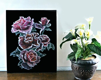 Frosted Roses Painting
