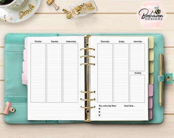 Vertical Weekly Planner Inserts - PRINTED Planner Inserts - Week On 2 Page UNDATED- A5 Planner Inserts - Kikki K Filofax WO2P [A5CA-08]