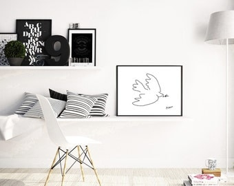 Pablo Picasso Dove, pablo picasso, dove of peace, Picasso sketch, picasso print, modern wall art, black white, scandinavian poster, prints