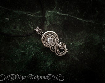 Wire wrapped pendant Silver necklace spiral Cubic zirconia gift for her OOAK