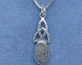 Gibeon Meteorite Celtic Trinity Knot Necklace - Sterling Silver - Dainty - G210975 - Free Shipping