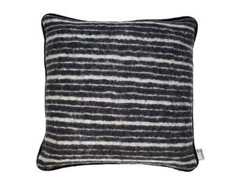 Black & White Stripy Wool Cushion with Suede backing and piping. Size: 47cm x 47cm.
