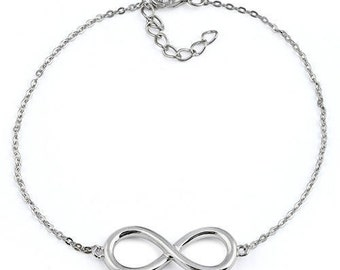 Sterling Silver Infinity Bracelet 7 inches with 1 inch adjustable