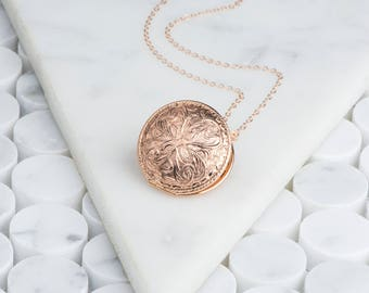 Rose Gold Locket Art Nouveau Necklace, Round Rose Locket Long Necklace, Mom Gift Rose Gold Floral Locket Necklace Round, Gold Filled Jewelry