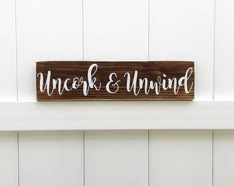 Uncork & Unwind // Wine Signs // Farmhouse Decor // Farmhouse Signs // Hand-Painted // Farmhouse // Wine Decor // Winery Signs  // Wine Gift