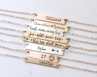 Personalized Custom Name Bar Necklace - Hand Stamped Gold Silver or Rose Bar Necklace. Gift For Mom Inspirational Layering Jewelry
