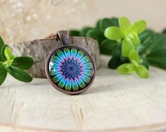 Abstract Flower Ornament Necklace, Mandala Pendant, Antique Copper Pendant, Glass Cabochon Pendant With Chain