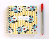 2017 Weekly Planner - SMALL 14cm/5.5in Square - Yellow & Blue Vintage Floral Fabric Cover
