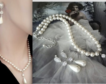 Pearl jewelry set ~ Swarovski pearl necklace and earrings set ~ Wedding jewelry set ~ Brides pearl set, Pearl bridal set, Outstanding