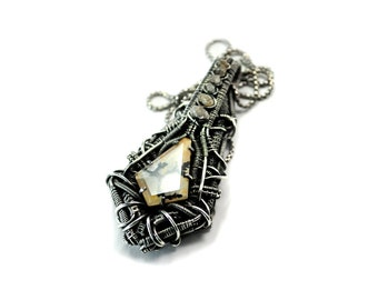 Wire Wrapped Pendant / Futuristic / Dendritic Quartz / Sterling Silver Necklace / Artisan Jewelry / Quartz Necklace / Wire Wrapping / Woven