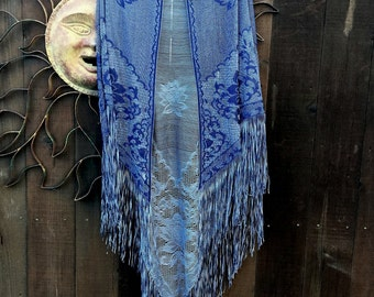 Vintage 1970's Shawl, Obre Blue Shawl, Lotus Flower Shawl, Bohemian, Gypsy, Hippie