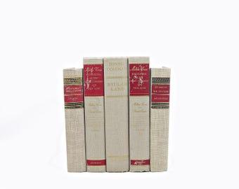 Gray Simmer Decorative Books, LIght Grey Antique Rustic Book Set, Shabby Chic Old Book Decor, Wedding Centerpiece,