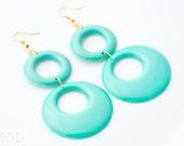 Mod earrings, Turquoise Hoop earrings, Vintage Turquoise earrings, Vintage 60s earrings, MOD Turquoise earrings, Handmade,60s style earrings