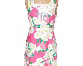 Lilly Pulitzer Adelson Shift Dress, Floral Day Dress , Empire Waist Summer Dress, Fancy Dress With Lace Trim Size 4