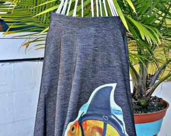 Goldfish Skirt, Fish SkIrt, Shark SkIRt, Jean Skirt, Stretch Skirt, Size Small, Large Appliqué, Under The Sea