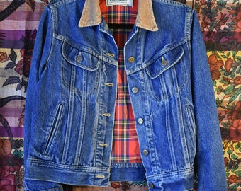 1990 LL Bean flannel lined distressed denim jacket PRICE DROP***
