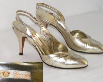 GoLD RuSH ~ 1970s GUCCI Gold Metallic Slingback Pumps - Made Italy - size 37.5 N narrow / soft gold leather evening dress shoes heels