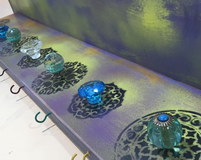 Boho bedroom nightstand/ wall hanging vanity /custom wooden shelves organizer painted mandalas decor 7 glass knobs 8 colorful hooks