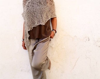 White knit poncho for women, cotton dress top, women's poncho, hand knit white wrap, gifts for wife, cotton summer poncho