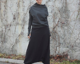 Drop Crotch Pants, Black Harem Pants, Unisex Harem Pants, Plus Size Pants, Loose Harem Pants, Baggy Pants, Yoga Pants, Bohemian Pants P13816