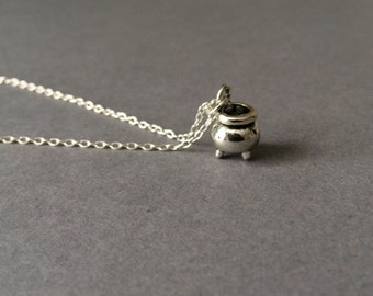 Cauldron Necklace, Halloween Necklace, Cauldron Charm, Cauldron Pendant, Halloween Pendant