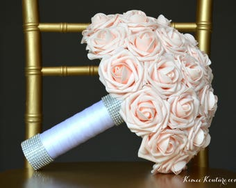 PINK BLUSH Bridal Bouquet with Two Real RHINESTONE Sparkly Cuffs. Blush Bouquet. Pink Blush Wedding Bouquet. Custom Made To Order.