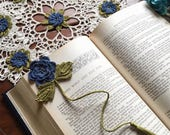 Crochet bookmark, flower, unique book lover gift, more colors available, made to order