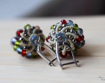 Beige micro macrame dangle beaded earrings| Sterling Silver ear wires| Czech glass beads| Handmade jewelry| Gifts for women