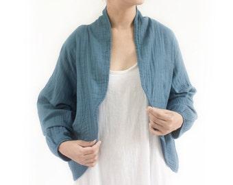 SALE - 50% Disc, Spring Shrug Bolero, Loose Fitting Casual Cotton Jacket, Long Sleeves Cardigan Jacket in Blue