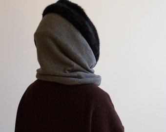 Fur Cowl, Hooded Scarf, Wool and Fur Scarf, Grey Cowl, Infinity Scarf, Faux Fur Cowl, Double sided Cowl, Warm Scarf