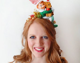 christmas elf headband, christmas headband adult, ugly Christmas sweater party, tacky sweater party, christmas hair accessories, bells