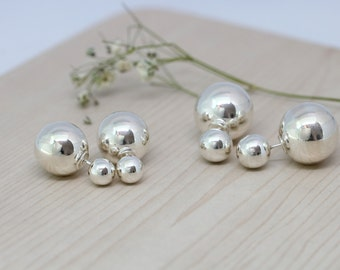 double ball earring, sterling silver ball ear jacket, two sided earring, front back earring, ball earrings, double sided earring, ear jacket
