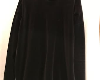 Vintage Ellen Tracy Black Velour Top and Pants Size XL