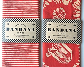 Set of 2 Red Bandanas, Hand Screen Printed and Soft
