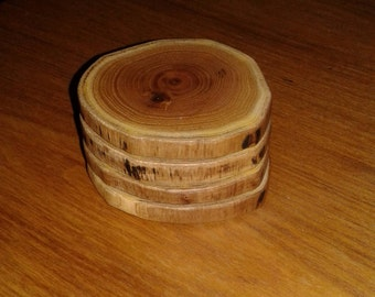 Small diameter wood coasters, wood circles, wood slices, wood slice coasters, natural