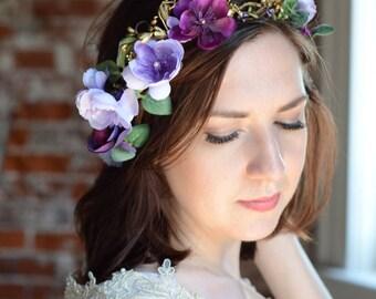 purple flower crown, purple and gold, luxe bridal headpiece, wedding headpiece, gold headpiece, purple wedding hair accessories, Swarovski